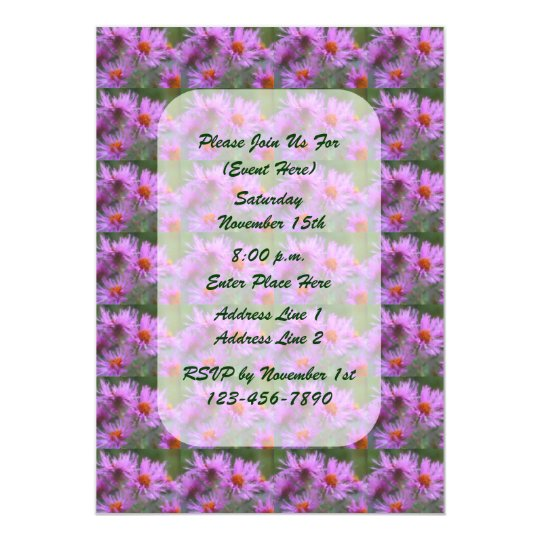 Pink Asters Painting Floral Art Invitation