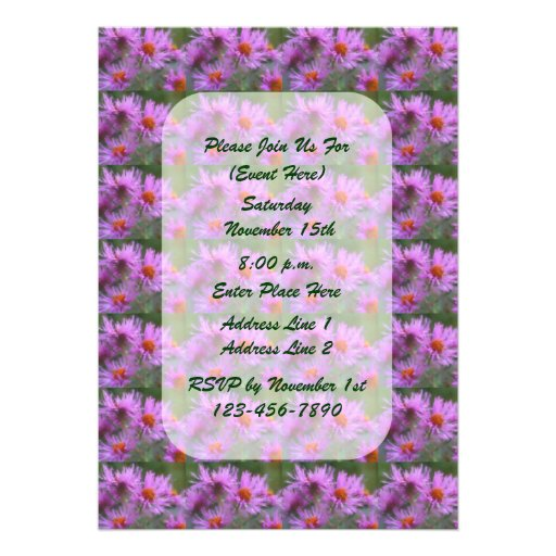 Pink Asters Painting Floral Party Invite