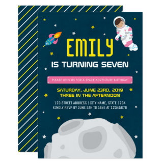 Pink Astronaut Girl Space Birthday Invitation