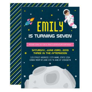 Pink Astronaut Girl Space Birthday Invitation