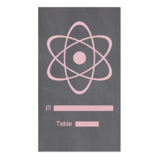 Pink Atomic Chalkboard Place Card Business Card Template