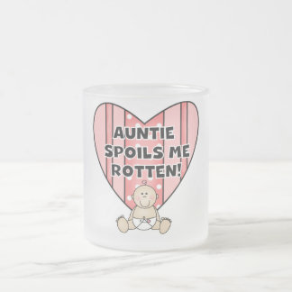 Pink Auntie Spoils Me Tshirts and Gifts Frosted Glass Mug