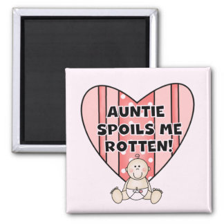Pink Auntie Spoils Me Tshirts and Gifts Fridge Magnet