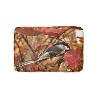 Pink Autumn Leaves and Black White Chickadee Bird Bath Mats