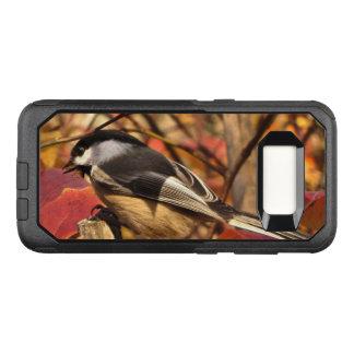 Pink Autumn Leaves and Chickadee Bird OtterBox Commuter Samsung Galaxy S8 Case