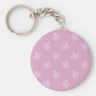 Pink Autumn Leaves Basic Round Button Key Ring