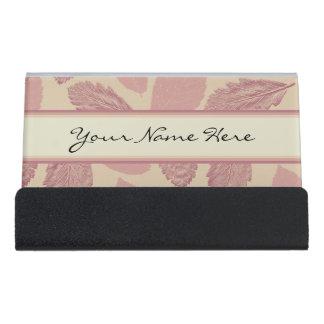 Pink Autumn Leaves Pattern Desk Business Card Holder