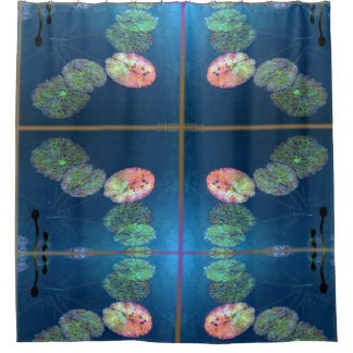 Pink autumn lily pads shower curtain