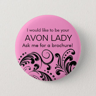 Pink Avon Lady 6 Cm Round Badge
