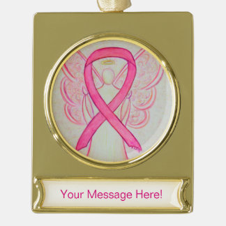 Pink Awareness Ribbon Angel Art Custom Ornament Gold Plated Banner Ornament