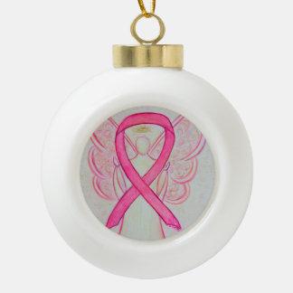 Pink Awareness Ribbon Angel Ornaments
