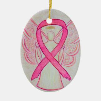 Pink Awareness Ribbon Angel Pendant Ornament