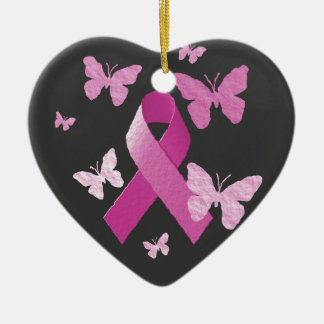Pink Awareness Ribbon Ceramic Heart Decoration