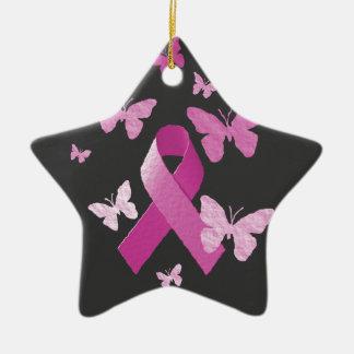 Pink Awareness Ribbon Ceramic Star Decoration