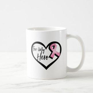 Pink Awareness Ribbon For My Hero Basic White Mug