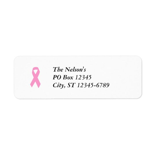 Pink Awareness Ribbon Return Address Label