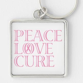 Pink Awareness Ribbon Silver-Colored Square Key Ring