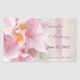 pink azaeleas save the date 2 rectangular stickers