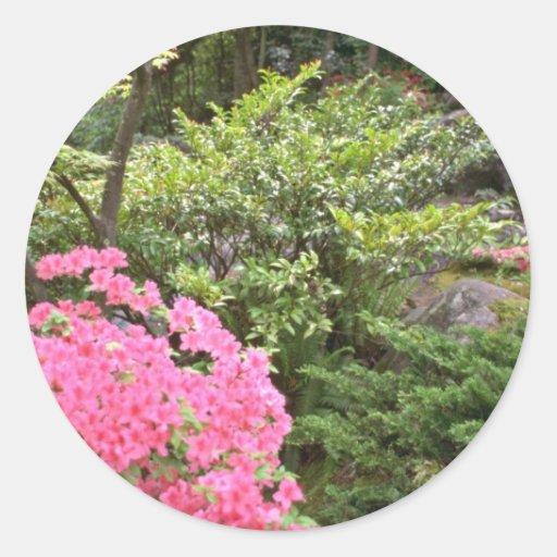 Pink Azalea Bush Amid Shrubs flowers Sticker