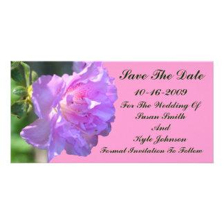 Pink Azalea Flower Wedding Save The Date Custom Photo Card