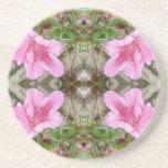 Pink Azaleas 1E kaleidoscope 3 Coasters