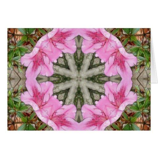 Pink Azaleas 1E kaleidoscope 8 Greeting Card