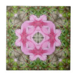 Pink Azaleas 1E kaleidoscope 9 Ceramic Tile