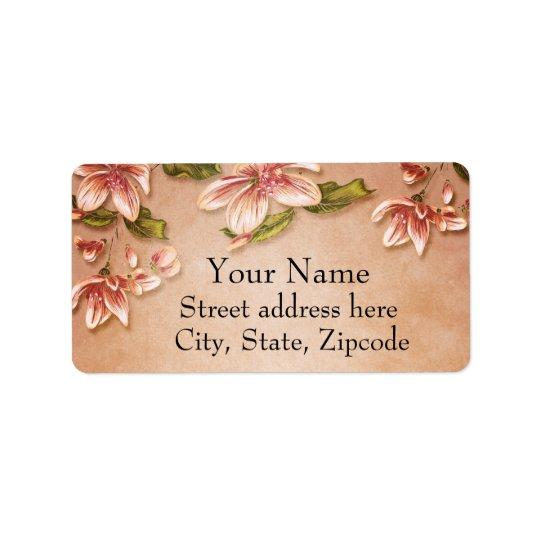 Pink Azaleas Vintage Floral on Whiskey Address Label
