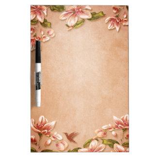 Pink Azaleas Vintage Floral on Whiskey Wedding Dry Erase Board