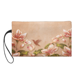 Pink Azaleas Vintage Floral on Whiskey Wedding Wristlets
