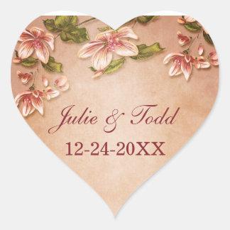 Pink Azaleas Vintage Floral Save The Date Wedding Heart Sticker