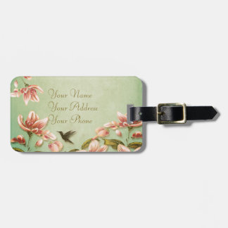 Pink Azaleas Vintage  on Green Mist Luggage Tag