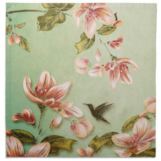 Pink Azaleas Vintage  on Green Mist Printed Napkin