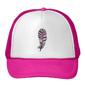 Pink Aztec Feather Mesh Hat