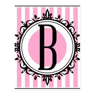 Pink 'B' monogram Postcard