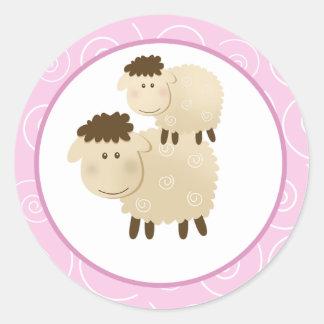 Pink Baa Baa Sheep Envelope Seals / Toppers 20 Round Sticker