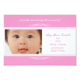 Pink Baby Announcement Cards