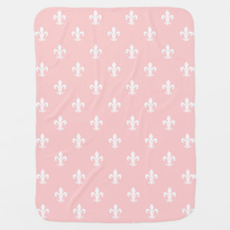 Pink baby blanket with fleur de lis pattern