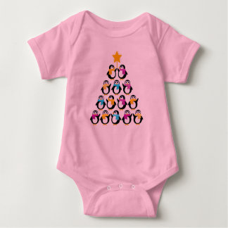 Pink baby Body with Penguins Baby Bodysuit