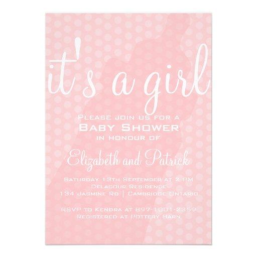 Pink Baby Bottle Polka Dots Baby Shower Invitation