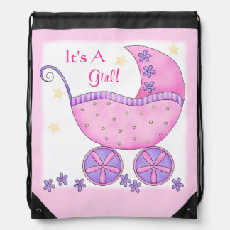 Pink Baby Buggy Carriage It's A Girl Shower Rucksack