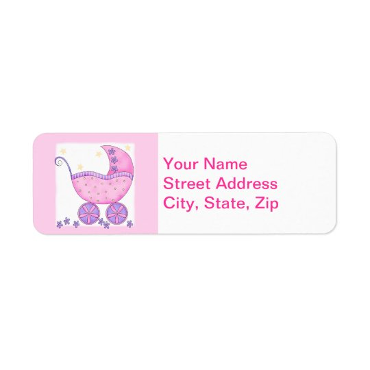 Pink Baby Buggy Carriage Shower Customised Return Address Label