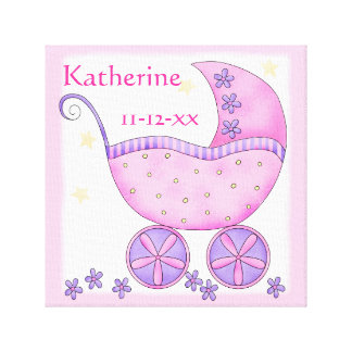 Pink Baby Buggy Girl Name Birth Date Art Canvas Prints