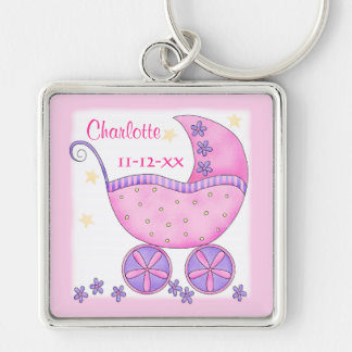 Pink Baby Buggy Girl Name Birth Date Commemorative Keychain