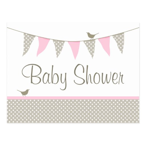pink baby bunting baby shower postcard invitation zazzle. Black Bedroom Furniture Sets. Home Design Ideas