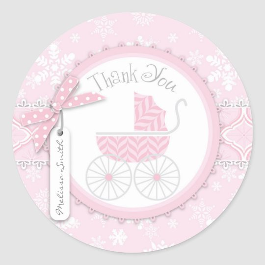 Pink Baby Carriage & Winter Snowflake Thank You
