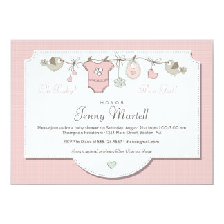 Pink Baby Clothes | Baby Shower Invitation