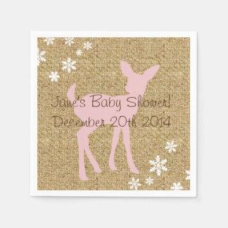Pink Baby Deer and Snowflakes Burlap Napkins Disposable Serviette