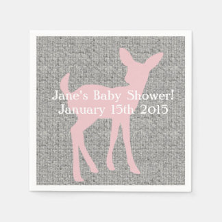 Pink Baby Deer & Gray Burlap Napkins Disposable Napkins