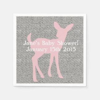 Pink Baby Deer & Gray Burlap Napkins Disposable Serviette